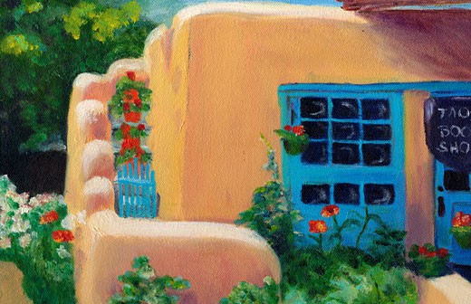Stock Photo: 1648-122 Taos Bookstore June 1993 Cynthia Hayward (b.20th C American) Oil