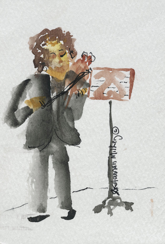 Musician 2004 Kathryn Hannan Milkey (b.1932 American) Watercolor : Stock Photo