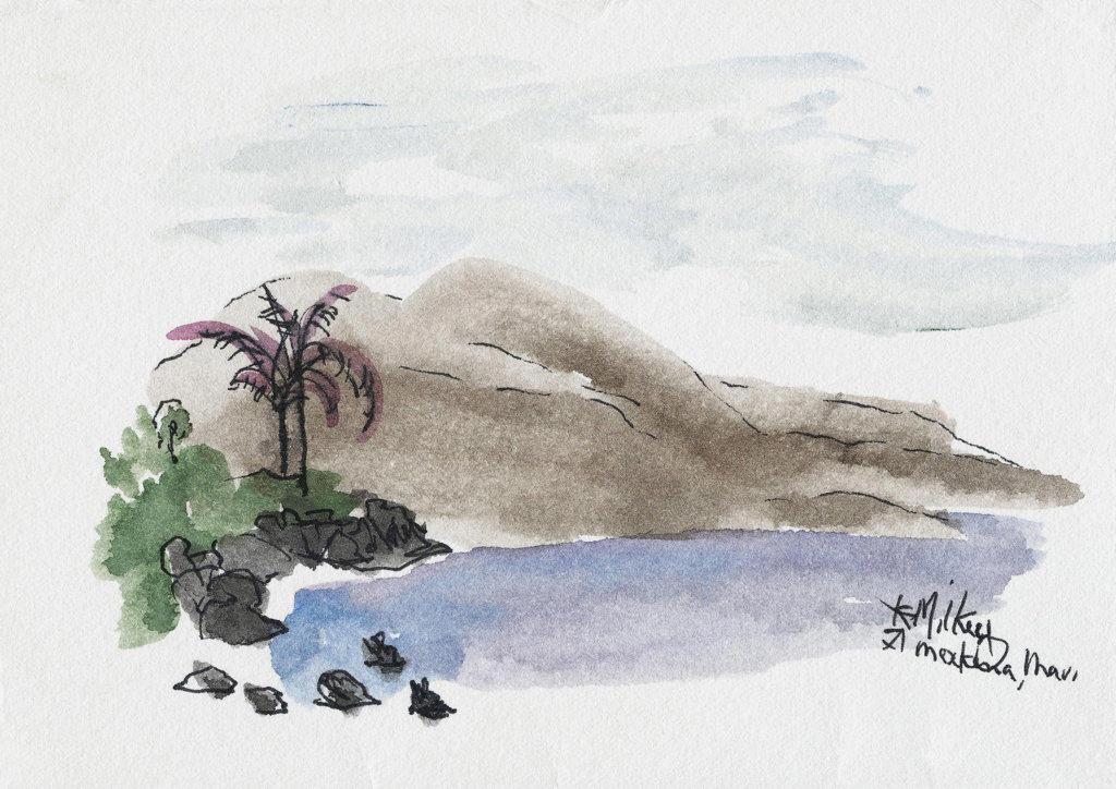 Makena Beach, Maui 2003 Kathryn Hannan Milkey (b.1932 American) Watercolor : Stock Photo