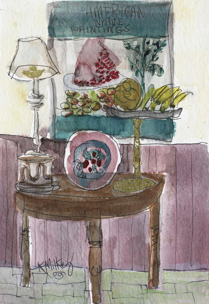 (MJ) Breakfast Room 2003 Kathryn Hannan Milkey (b.1932 American) Watercolor : Stock Photo