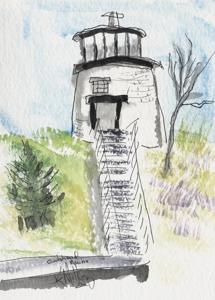 Owl's Head, Maine Lighthouse 2004 Kathryn Hannan Milkey (b.1932 American) Watercolor : Stock Photo