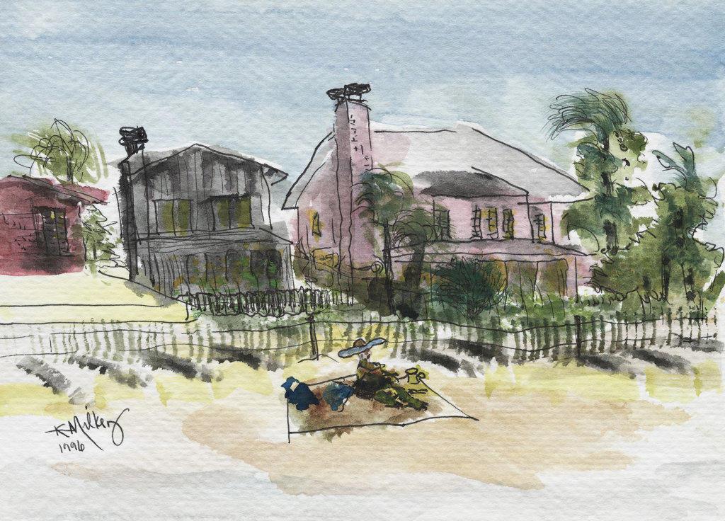 Stock Photo: 1651-129 Atlantic Beach, FL 2003 Kathryn Hannan Milkey (b.1932 American) Watercolor