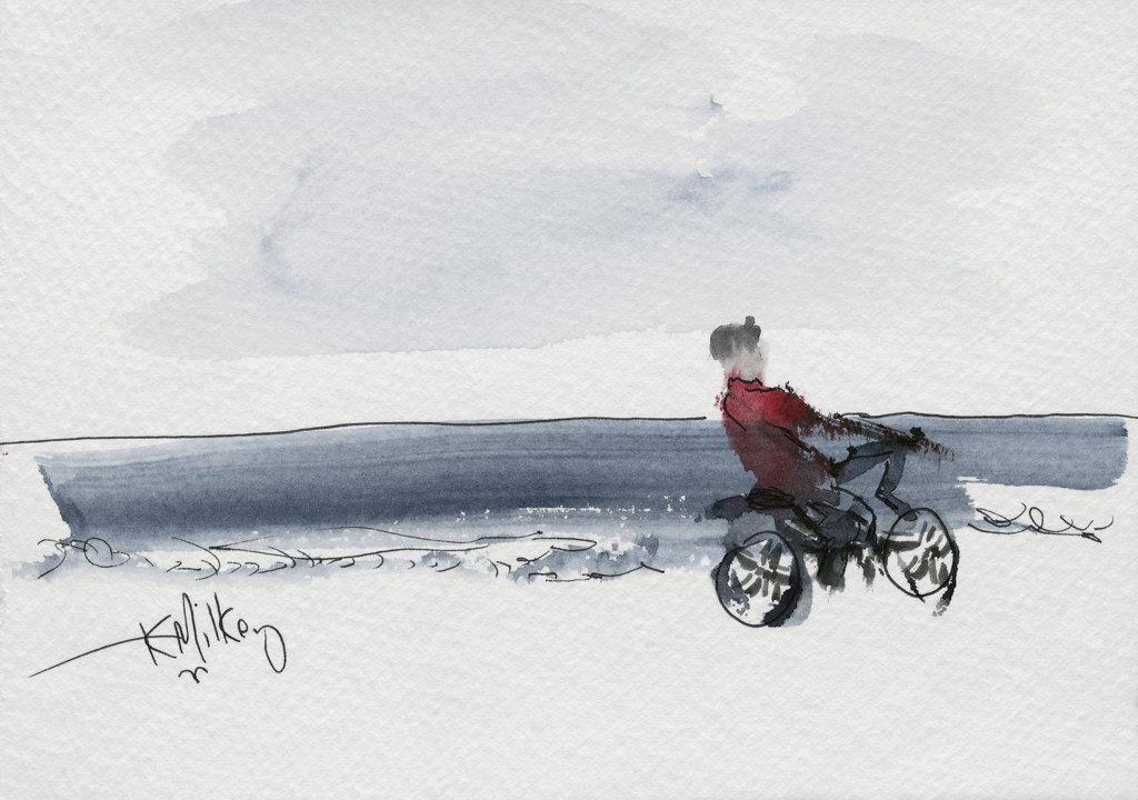 Stock Photo: 1651-133 Riding the Beach, Atlantic Beach, FL 2001 Kathryn Hannan Milkey (b.1932 American) Watercolor
