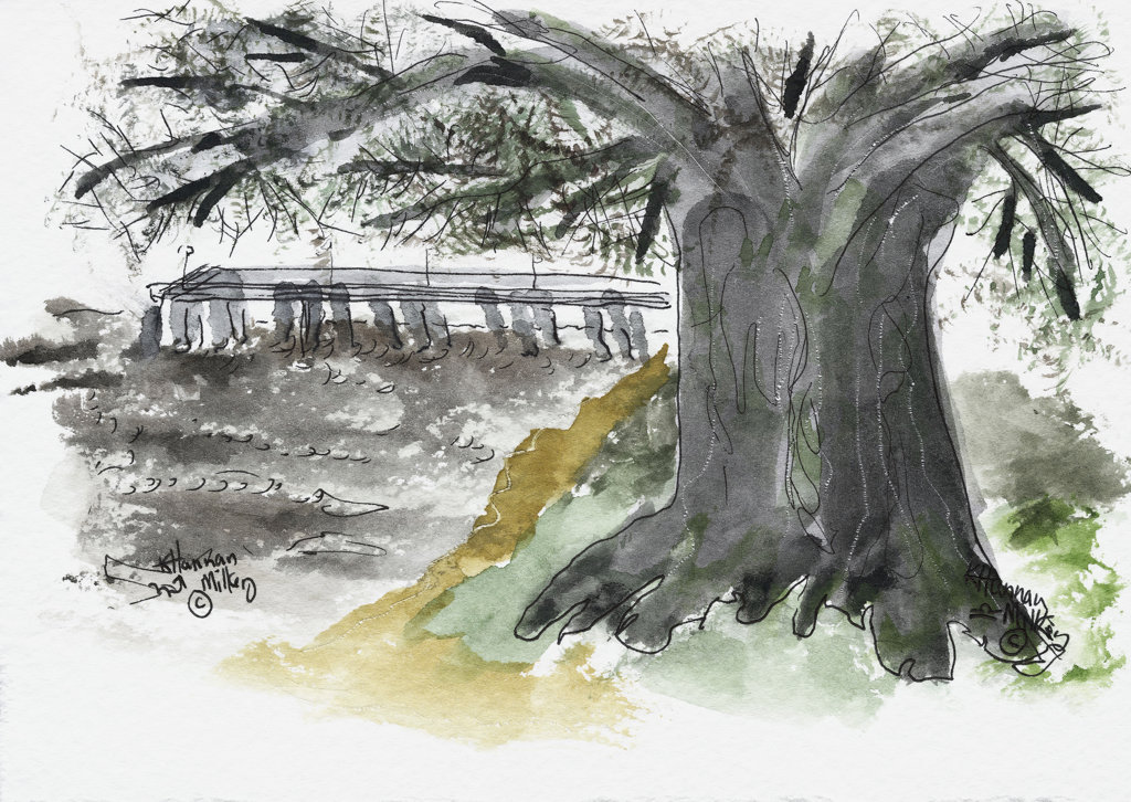 Stock Photo: 1651-137 St. Simons Island, GA Pier 2004 Kathryn Hannan Milkey (b.1932 American) Watercolor