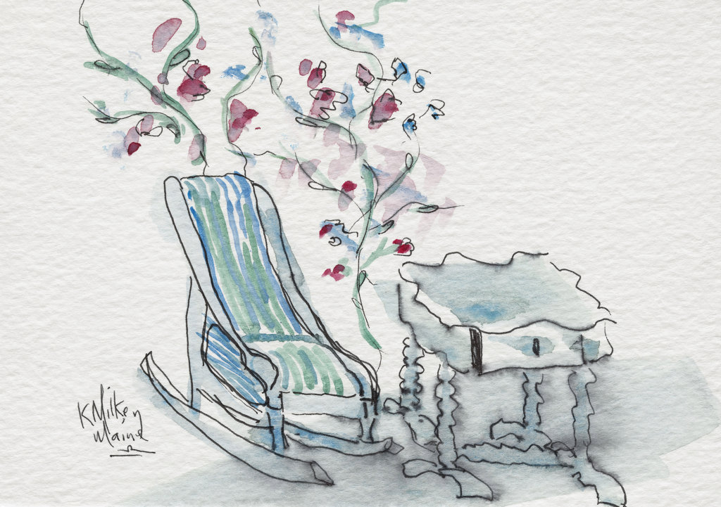 Stock Photo: 1651-146 Maine Rocking Chair 2002 Kathryn Hannan Milkey (b.1932 American) Watercolor