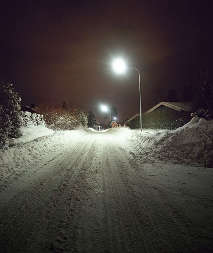 Snow_covered Street at Night : Stock Photo