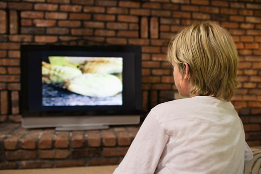 Stock Photo: 1654-21705 Boy 10_12 watching television back view