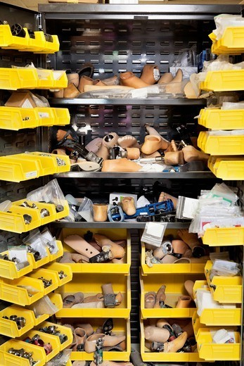 Palm Springs, California, USA. Prosthetic feet in store room : Stock Photo