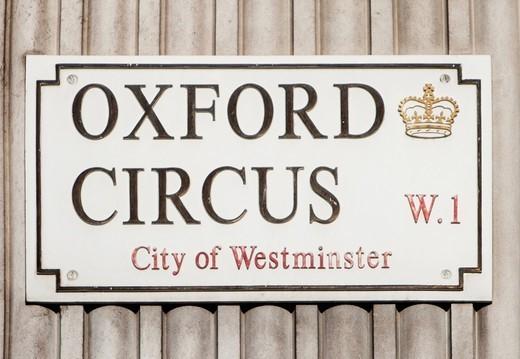 Stock Photo: 1654-57121 London, UK. Close_up of Oxford Circus sign