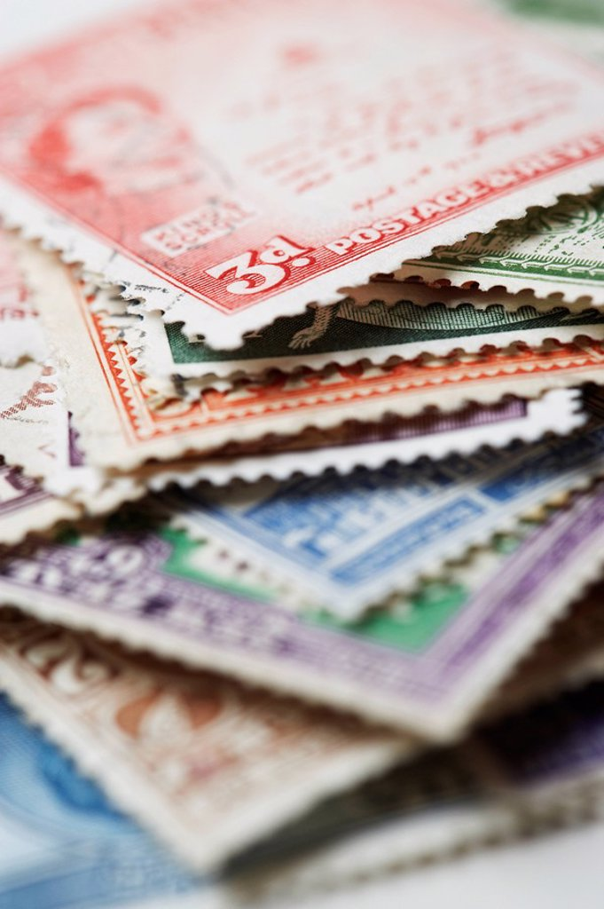 Pile of Postage Stamps : Stock Photo