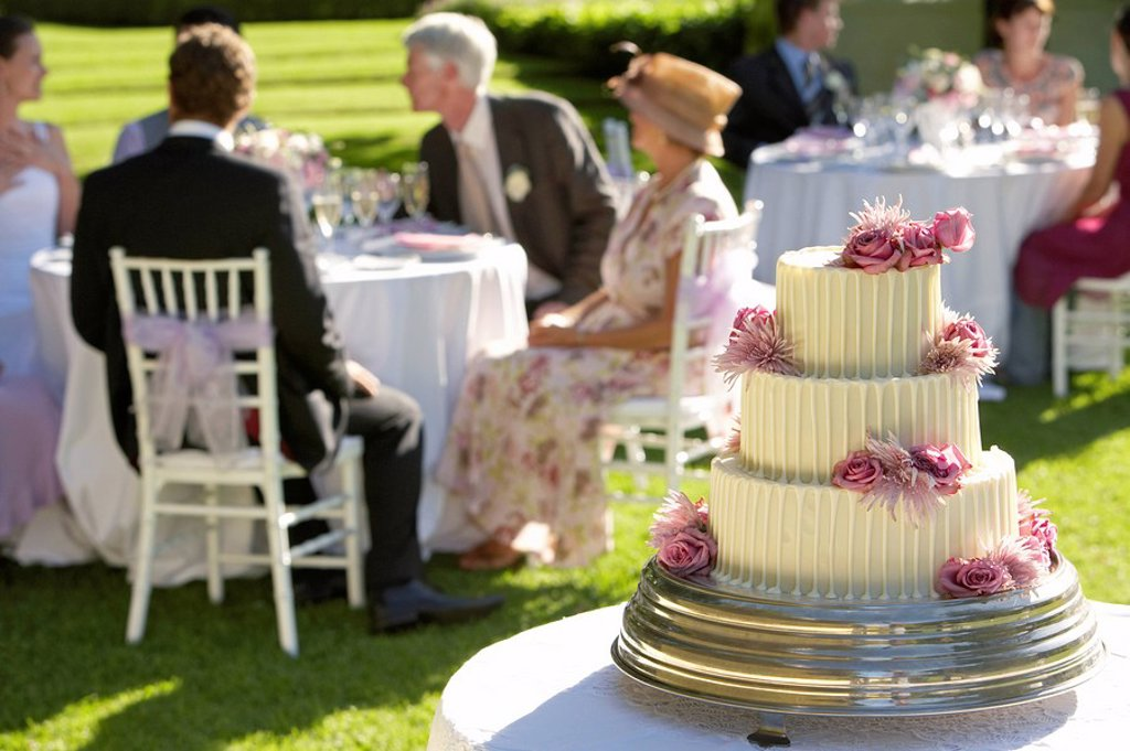 Stock Photo: 1654R-11909 Wedding cake guests at tables in background