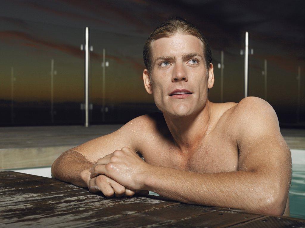 Man in a Swimming Pool : Stock Photo