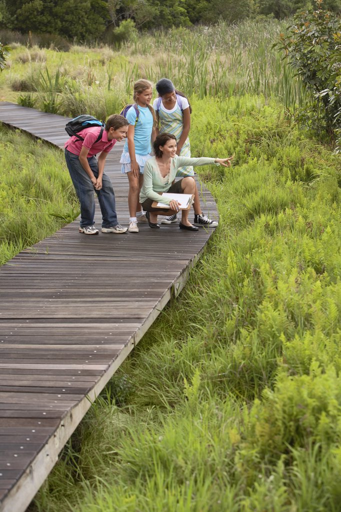 Stock Photo: 1654R-14253 Children on Nature Field Trip