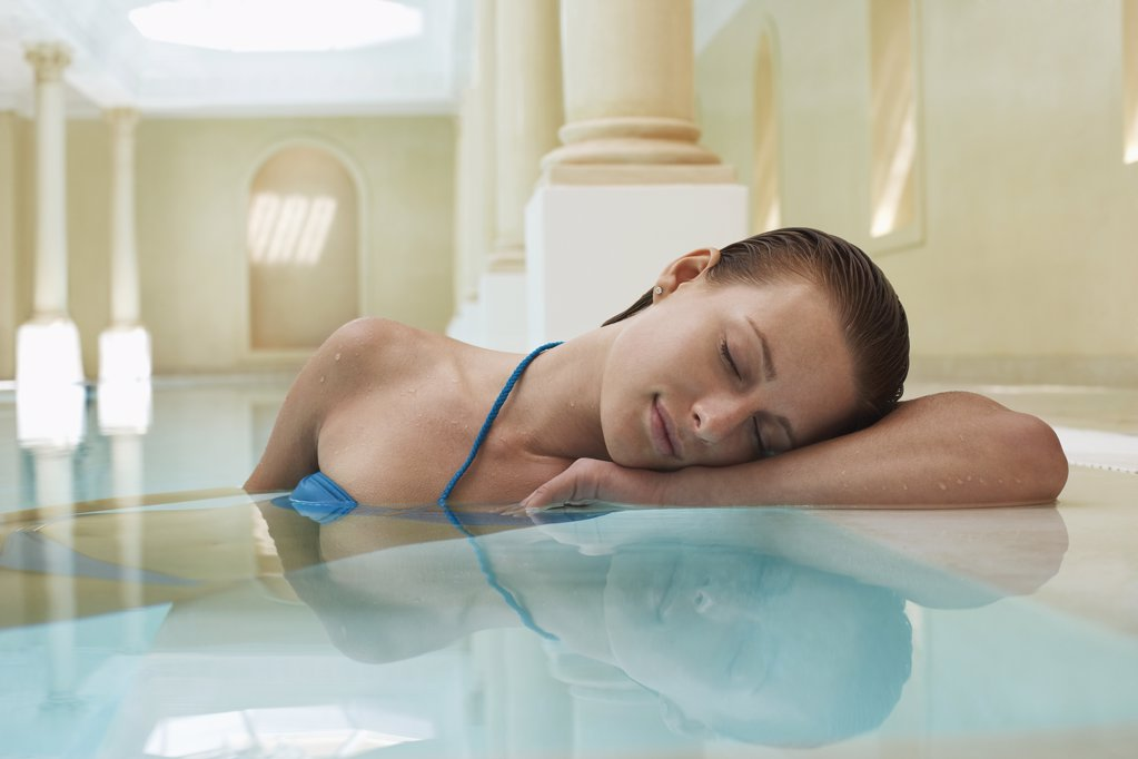 Stock Photo: 1654R-14422 Woman in Pool