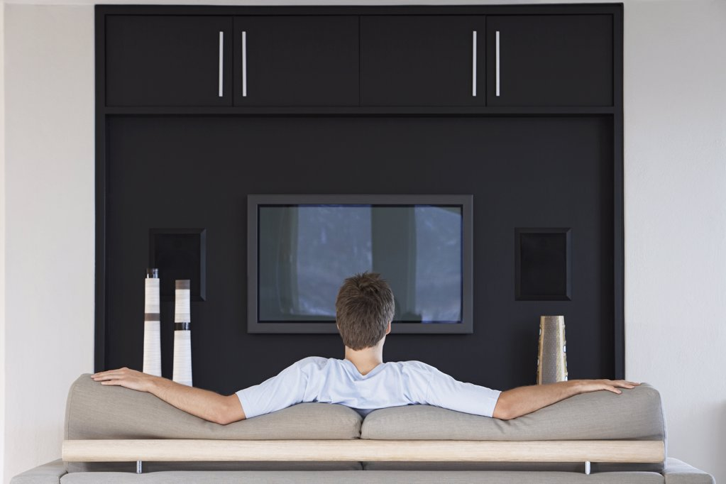 Man Watching TV : Stock Photo