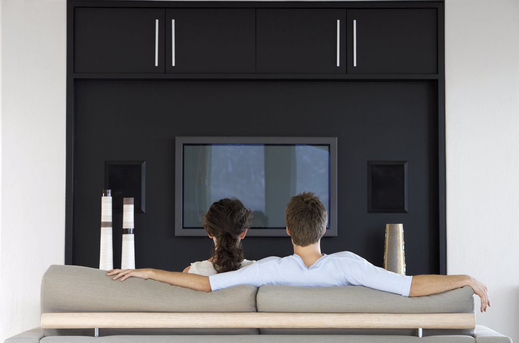 Stock Photo: 1654R-14830 Couple Watching TV