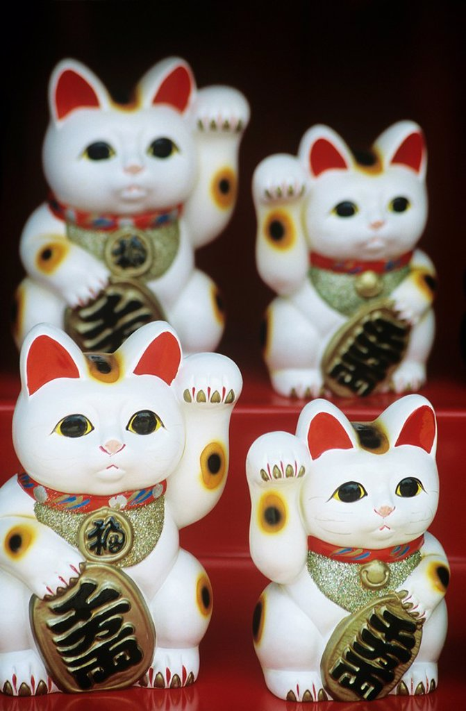 Chinese talisman cat figurines : Stock Photo