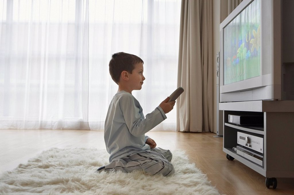 Stock Photo: 1654R-15771 Boy 7_9 sitting on floor watching cartoons in television