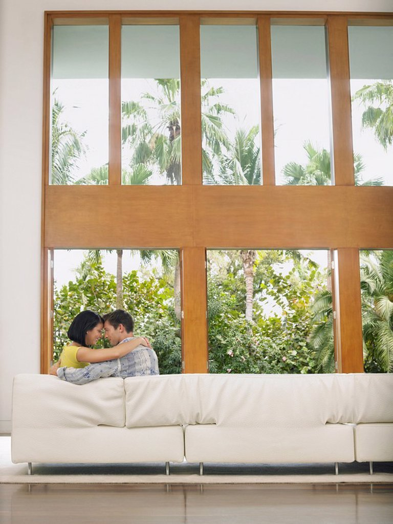Stock Photo: 1654R-16040 Affectionate Young Couple Hugging on Sofa