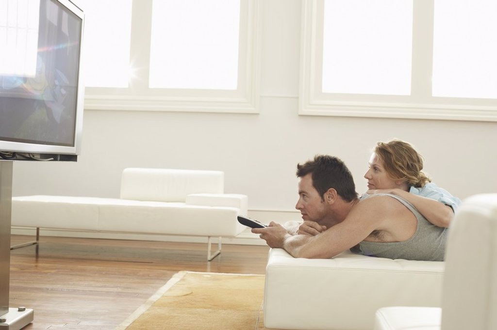 Couple Watching TV : Stock Photo