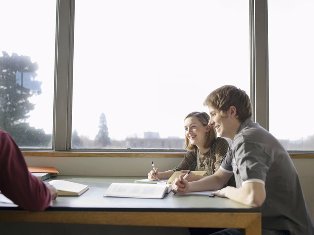 Stock Photo: 1654R-17310 College Students Studying