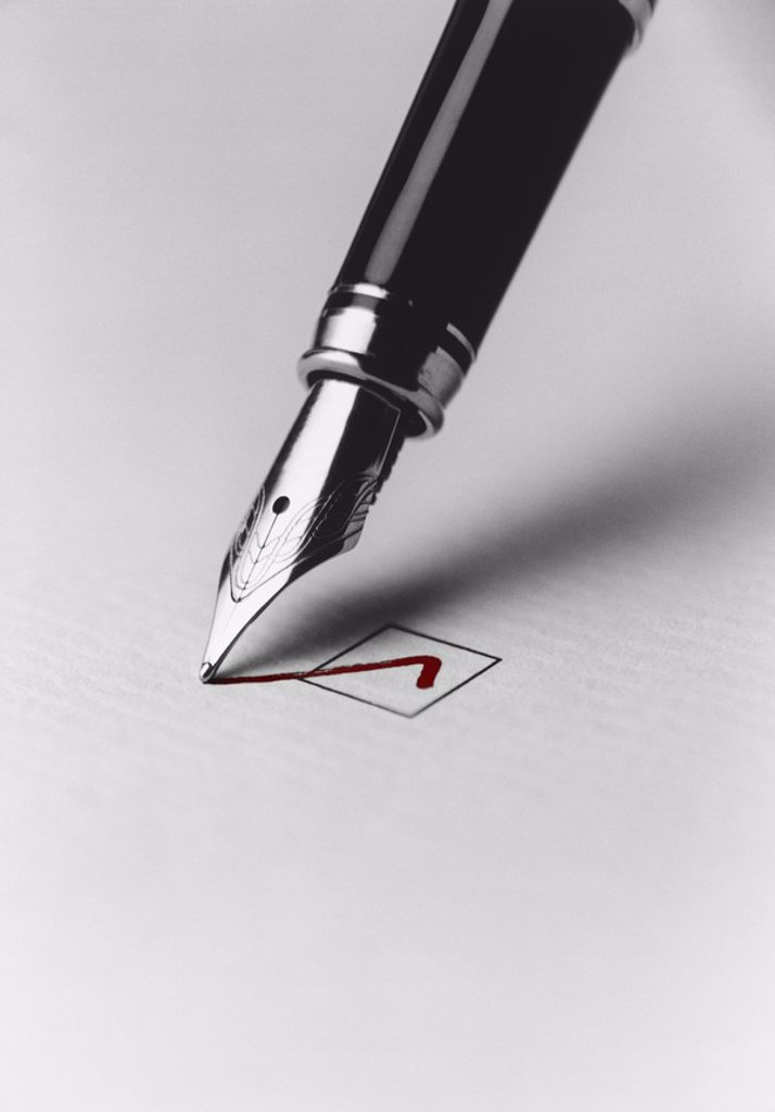 Pen Checking Box : Stock Photo