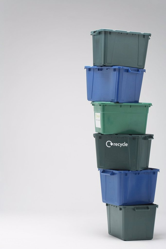 Stock Photo: 1654R-19185 Stack of Empty Recycling Boxes