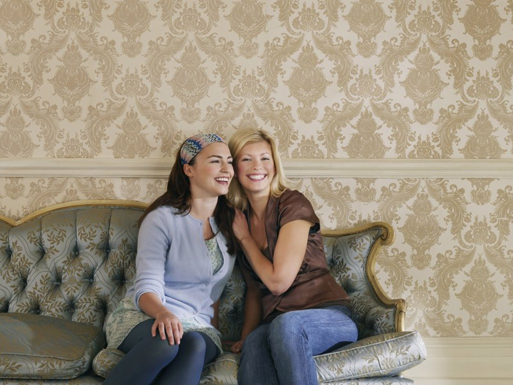 Stock Photo: 1654R-19672 Two young women sitting on sofa portrait