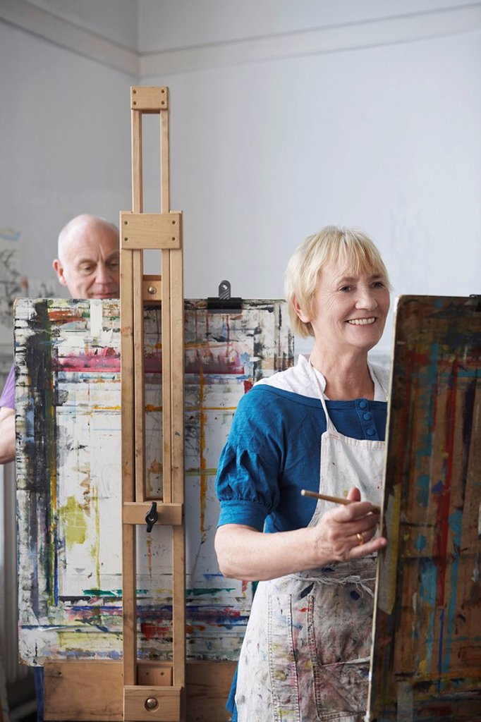 Stock Photo: 1654R-22587 Two artists painting in studio