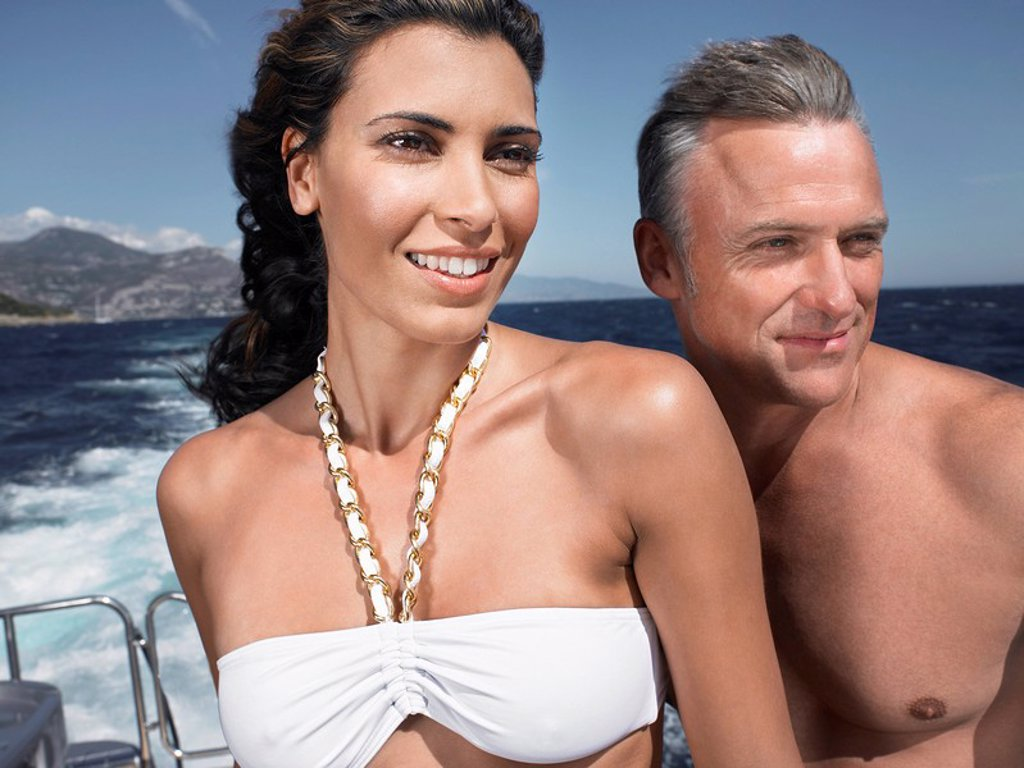 Stock Photo: 1654R-22749 Couple on a Boat