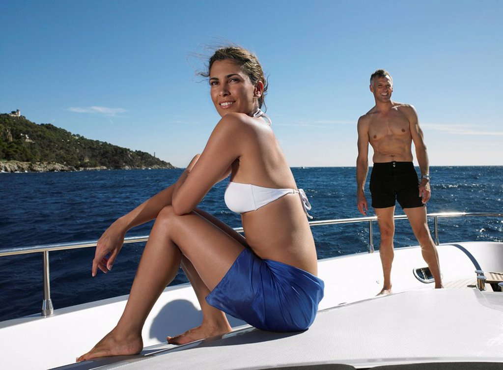 Couple on a Boat : Stock Photo