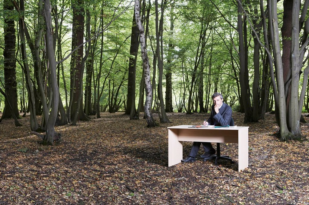 Stock Photo: 1654R-22887 Business man sitting at desk in middle of forest