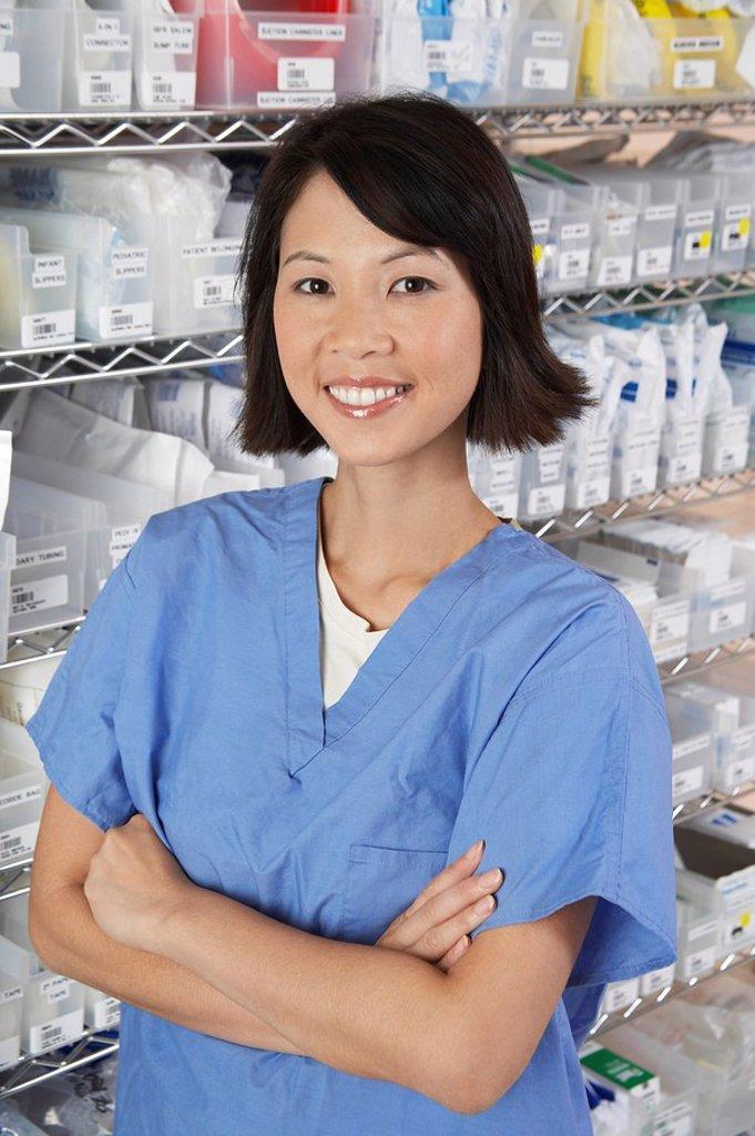 Female nurse in hospital room portrait : Stock Photo