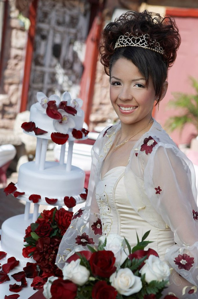 Girl 13_15 with bouquet portrait : Stock Photo