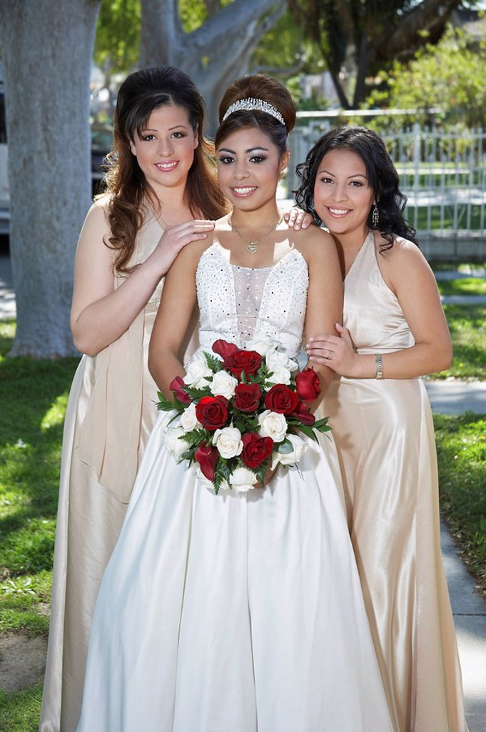 Portrait of girl 13_15 with friends in garden at Quinceanera : Stock Photo