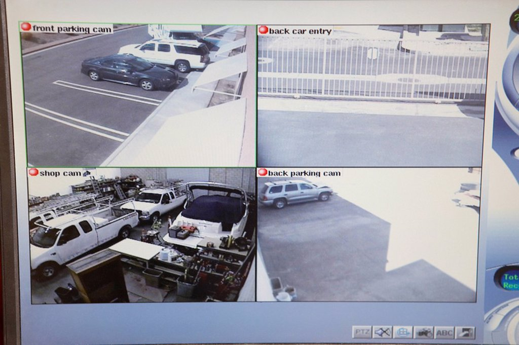 Video monitor with picture from security cameras : Stock Photo
