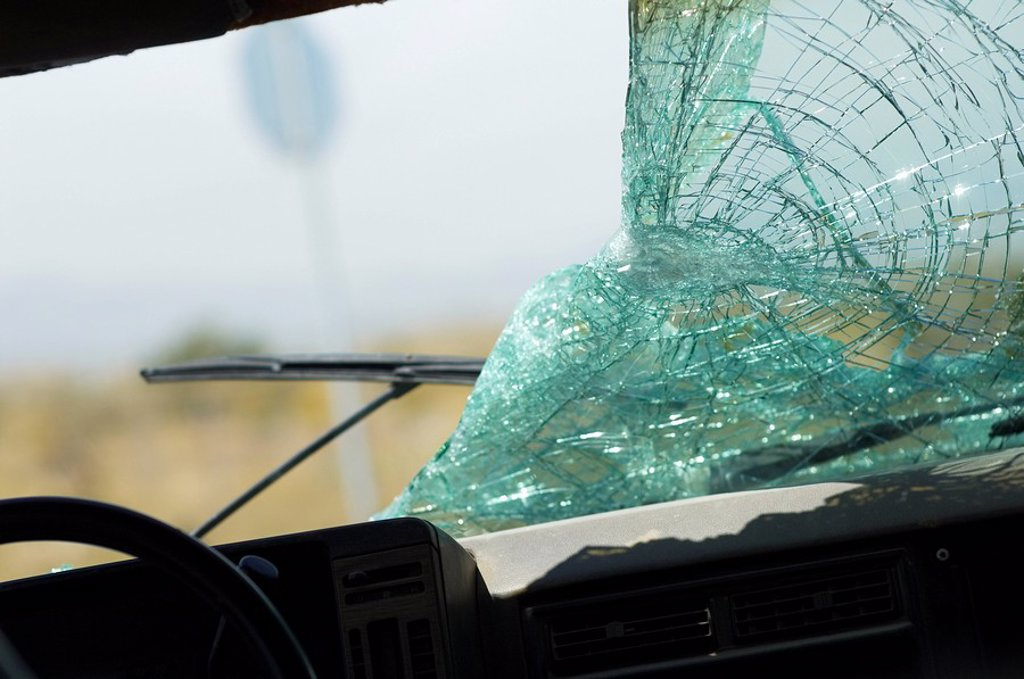 Broken car windshield view from interior : Stock Photo