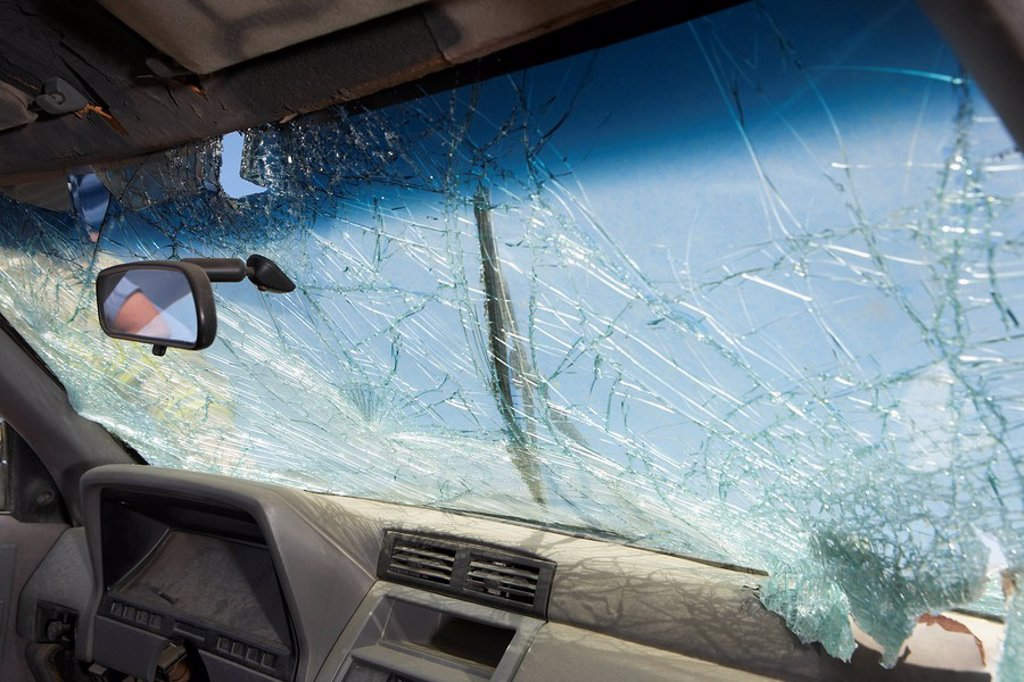 Broken windshield of car view from interior : Stock Photo
