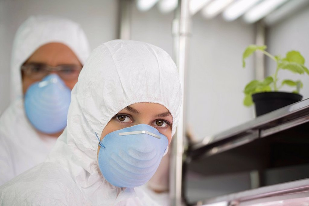 Workers in protective masks and suits in laboratory portrait : Stock Photo