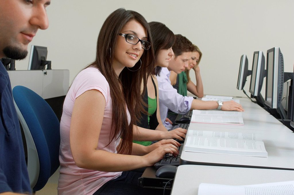 Students working in computer classroom : Stock Photo