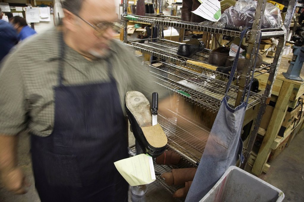 Traditional shoemaker workshop : Stock Photo