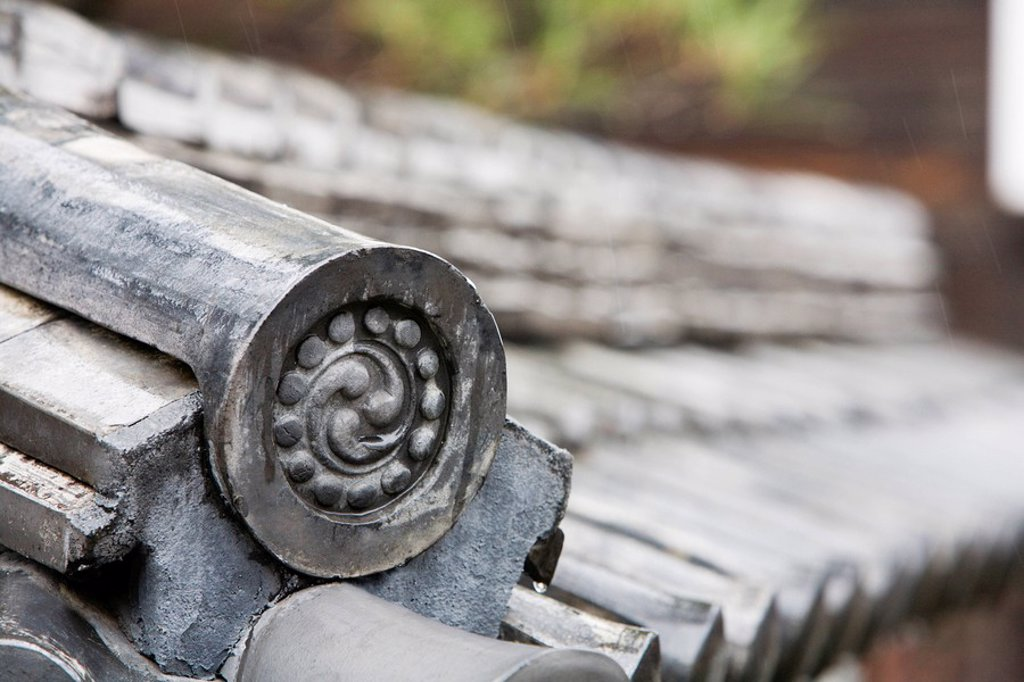 Stock Photo: 1654R-34485 Detail on End of Roof Gable in Japan