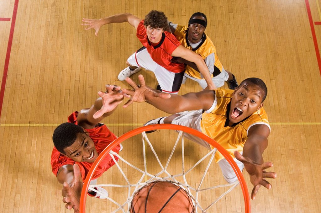 Basketball match view from above rim : Stock Photo