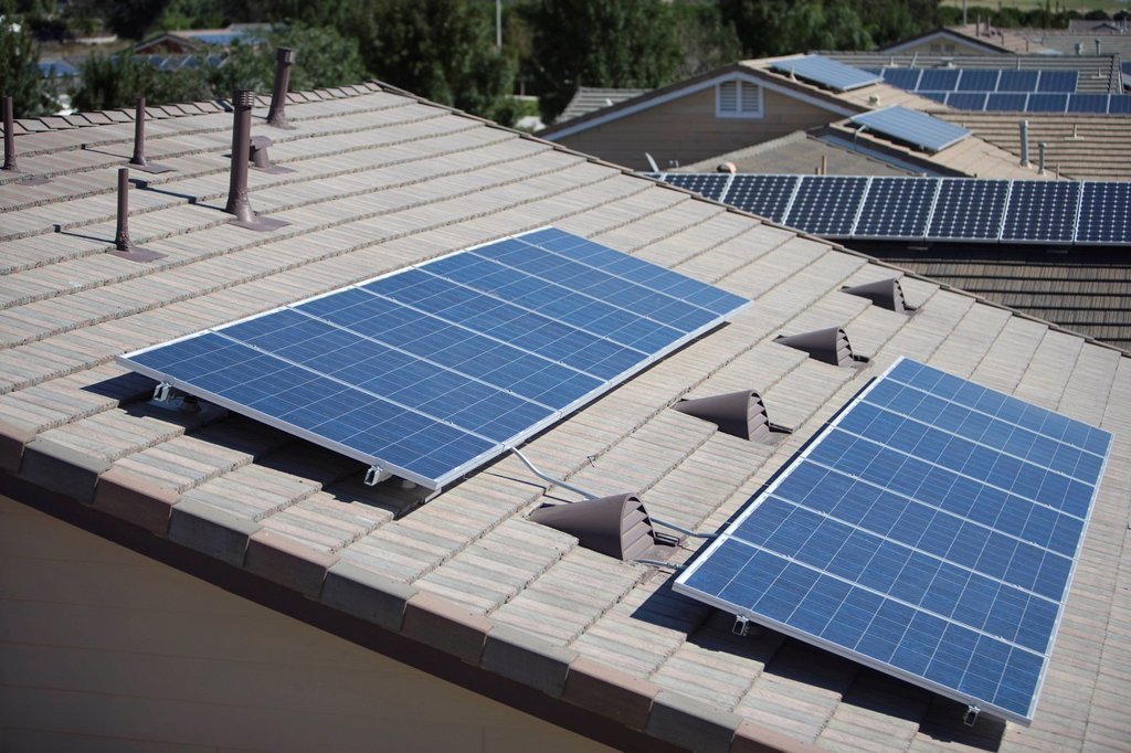 Stock Photo: 1654R-46248 Roof tops with some solar panelling on