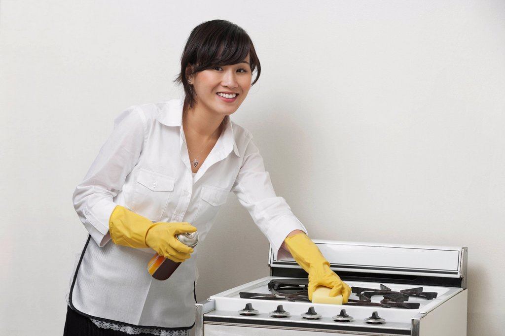 Stock Photo: 1654R-53247 Portrait of young housemaid cleaning stove against gray background