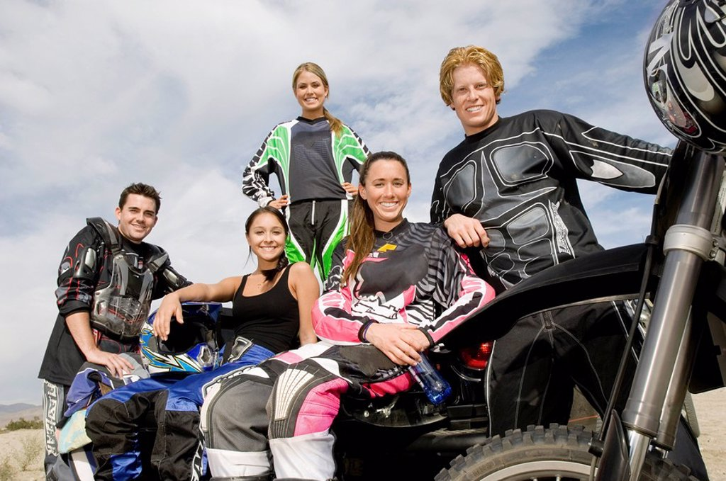 Motocross Racers outdoors portrait : Stock Photo