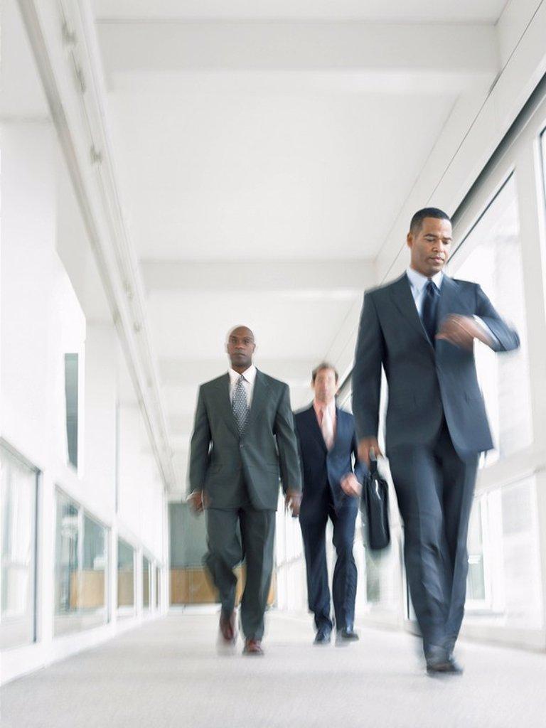 Businessmen walking down corridor low angle view : Stock Photo