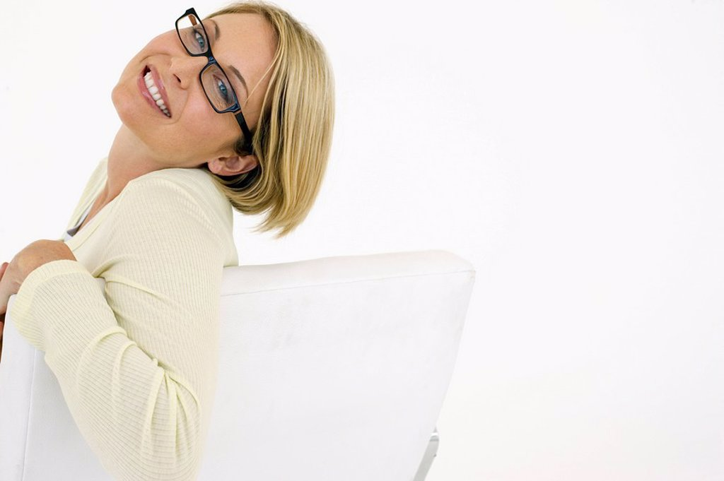 Stock Photo: 1654R-5659 Businesswoman smiling on white background portrait