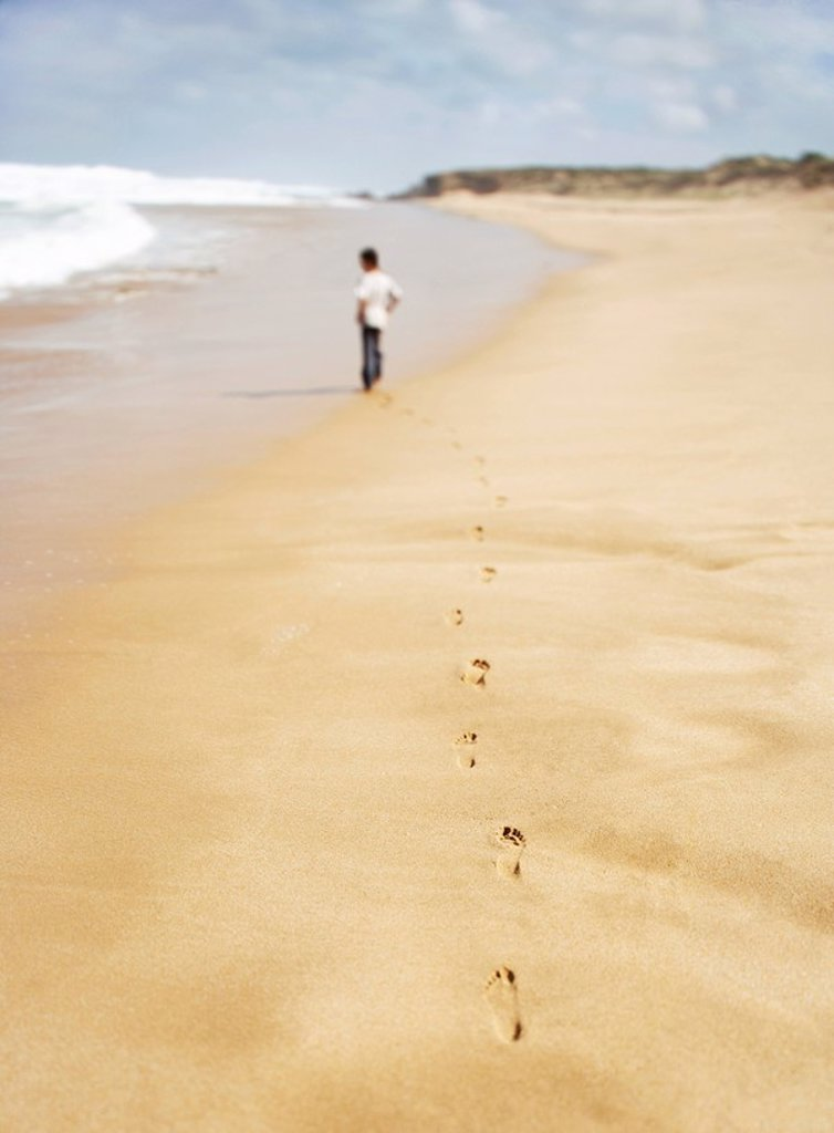 Boy walking along sandy beach back view : Stock Photo