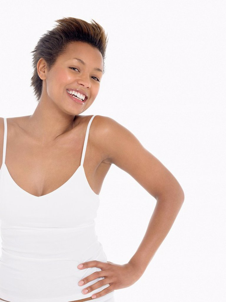 Stock Photo: 1654R-6674 Young Woman Wearing Underwear portrait
